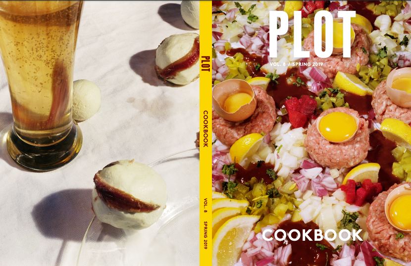 PLOT Volume 8: Cookbook. FRONT AND BACK COVER Emma Ressel, Beef Tartare and Anchovies, Cream Cheese, and Beer, from the series Insatiable Hunger and the Peacock's Plume.