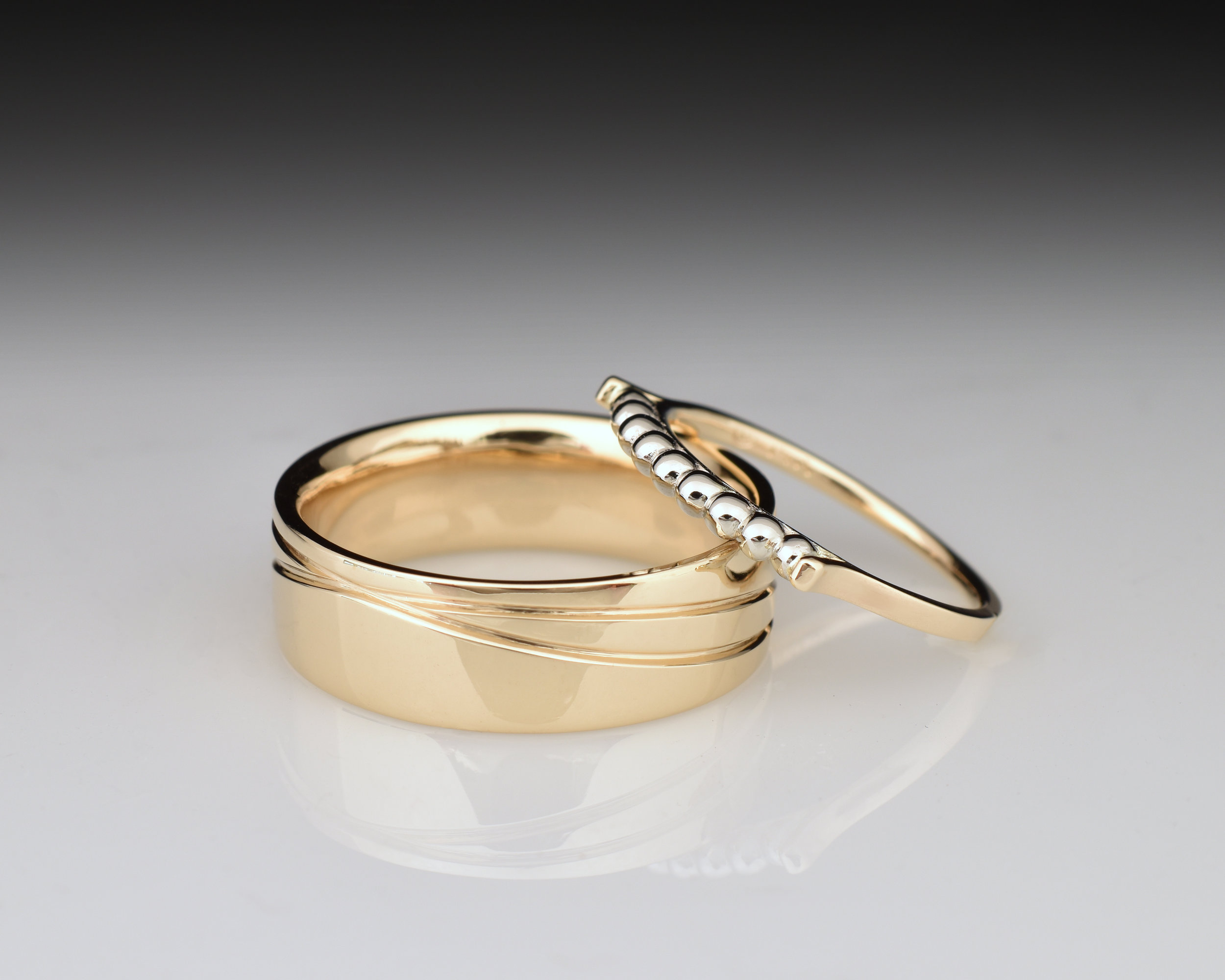 14k Yellow and White Gold wedding bands.