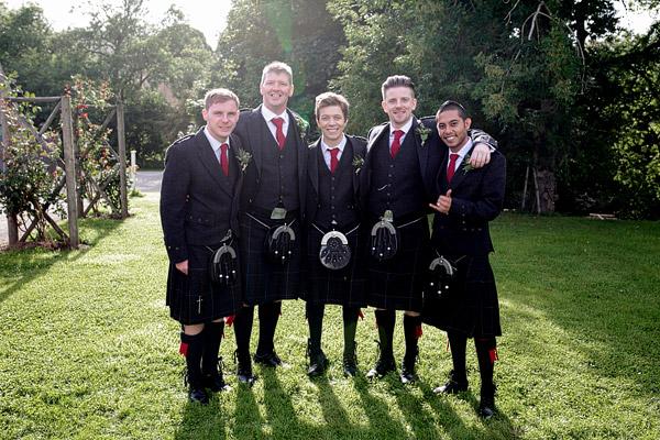 Ushers in kilts Scottish wedding
