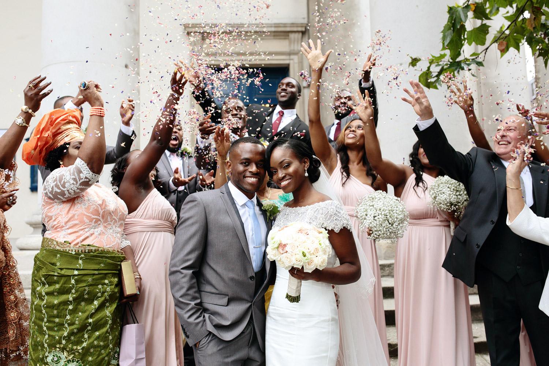 African London wedding confetti shot