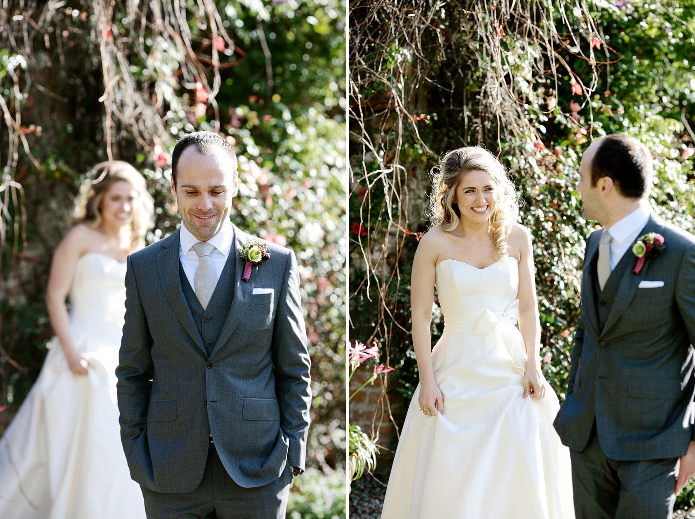 Bride and groom first look Irish wedding