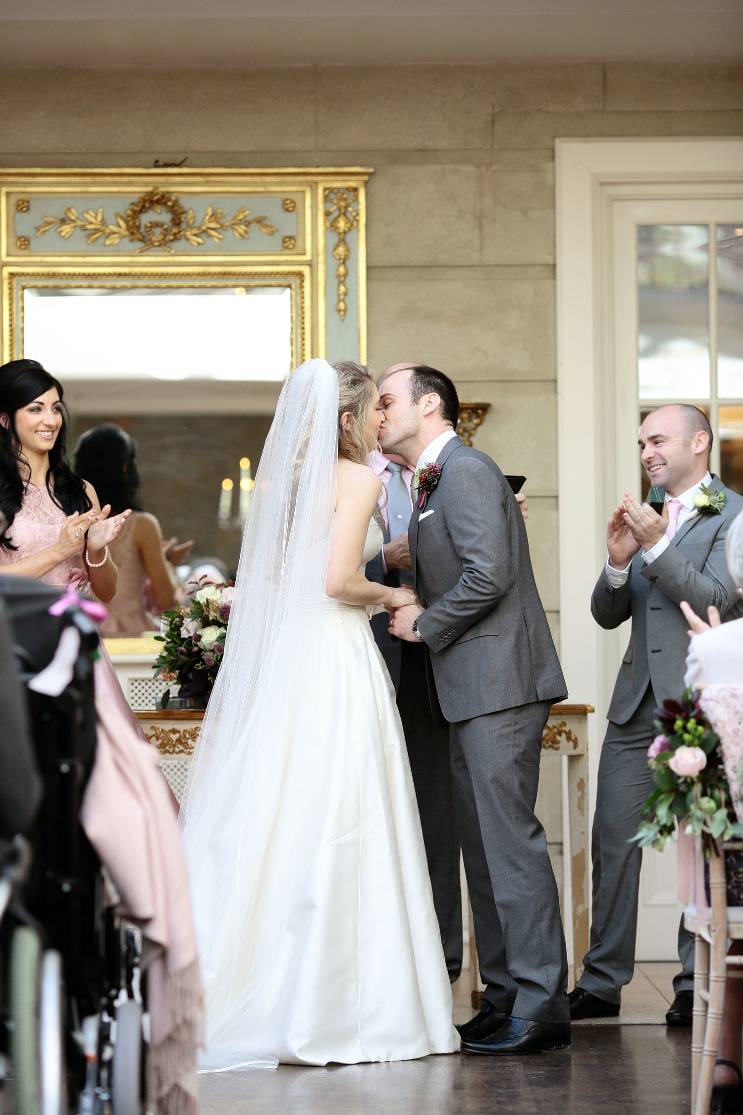 Tankardstown House wedding Meath first kiss