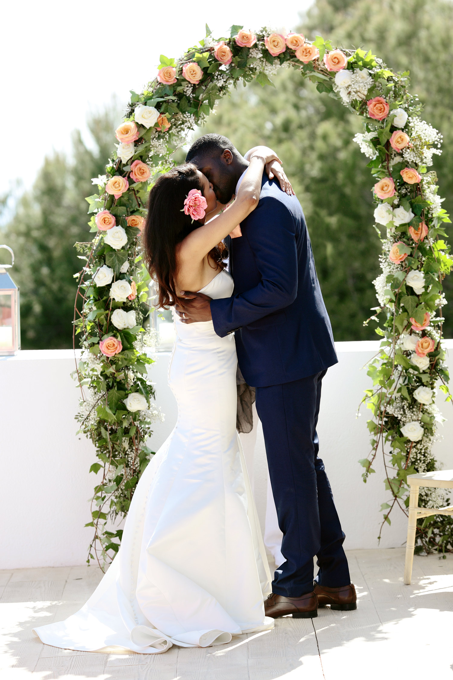 bride and groom first kiss photo at Elixir Ibiza
