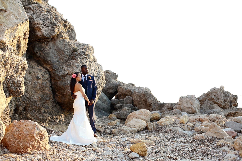 Bride and groom beach photo at Elixir Ibiza