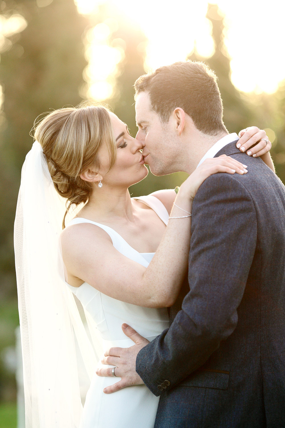 clonabreany house wedding bride and groom first kiss photo