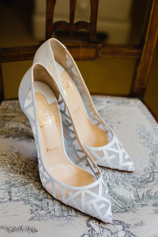 white Louboutin wedding shoes