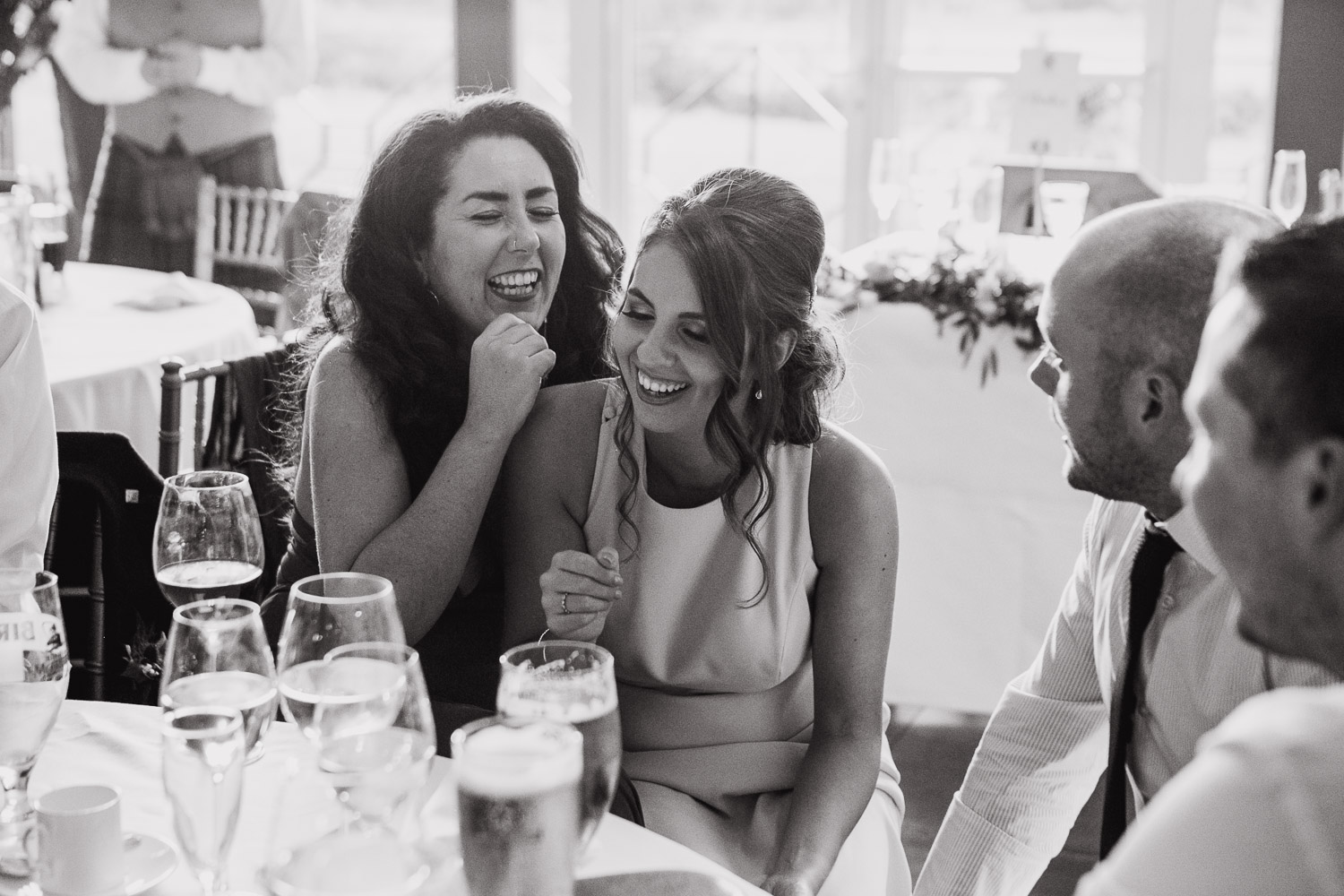 wedding guests laughing Dumfries House Scotland
