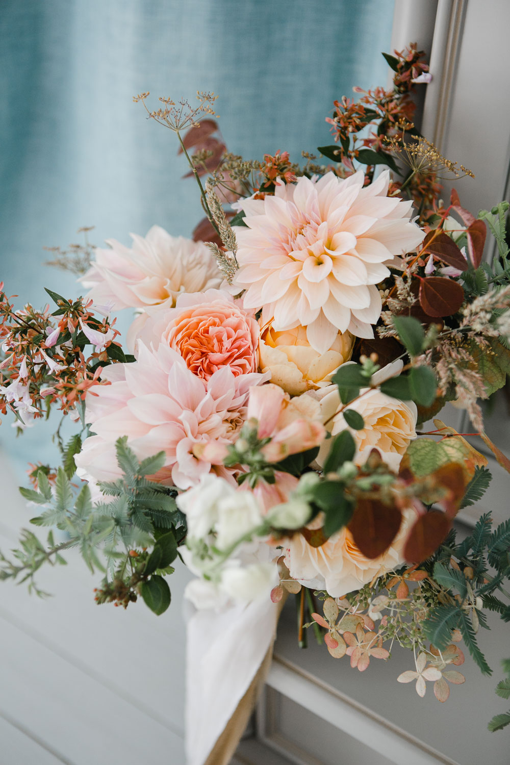 pastel bridal bouquet by Garden Gate Flower Company Cornwall