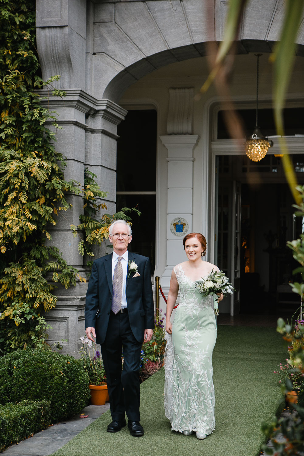 Bride Walking To Wedding Ceremony Tinakilly House In Wicklow