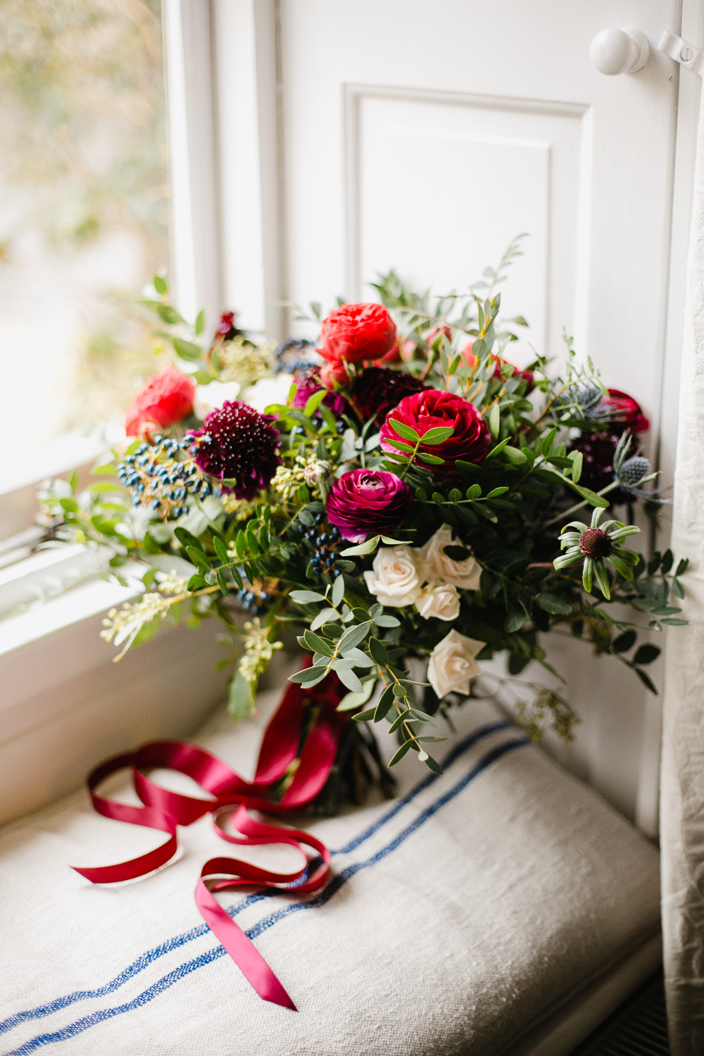 Red Blue And White Winter Wedding Flowers