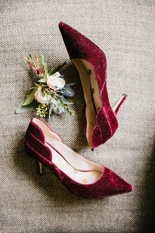 Burgundy Velvet Wedding Shoes Photo