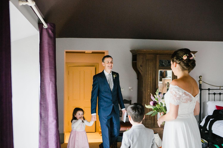 Bride And Groom First Look In Dunowen House In Cork