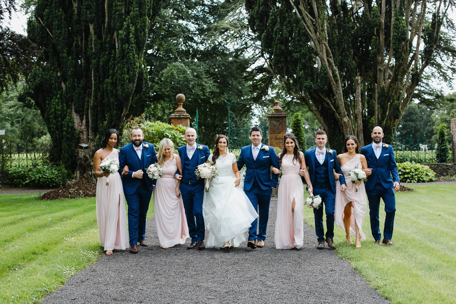 Bridal Party Photo In Walled Garden At Tankardstown House