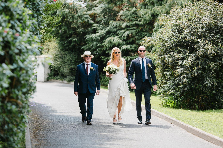 Bride Walking To Church Photo