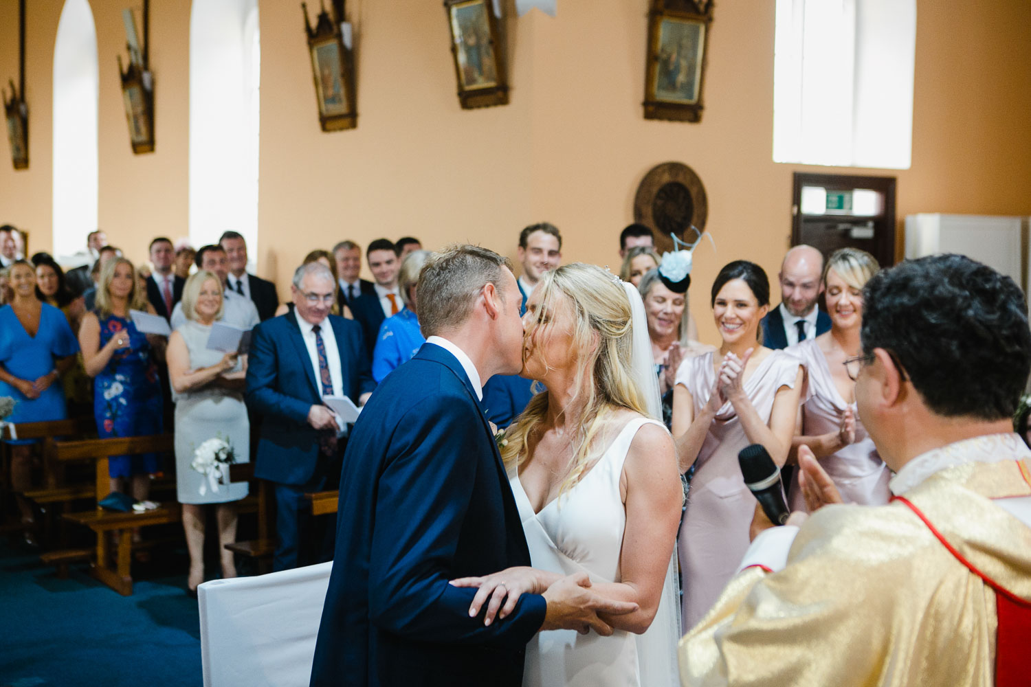 Bride And Groom First Kiss At The Ceremony Photo Rosleague Manor