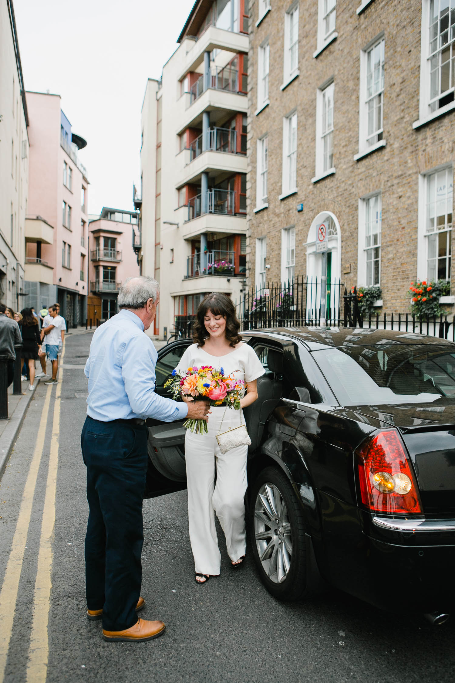 Bride Arriving For Ceremony At Smock Alley Theatre Dublin