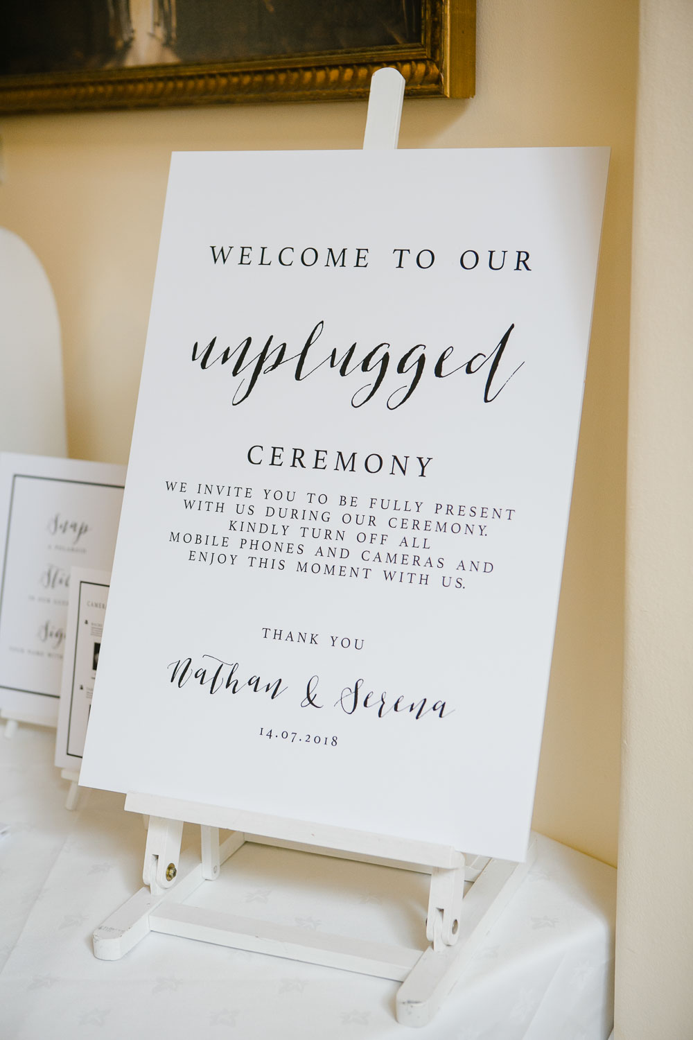 Unplugged Wedding Ceremony Welcome Sign