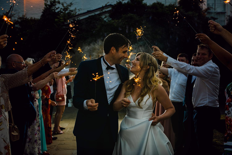 Bride And Groom Sparkler Exit Photo