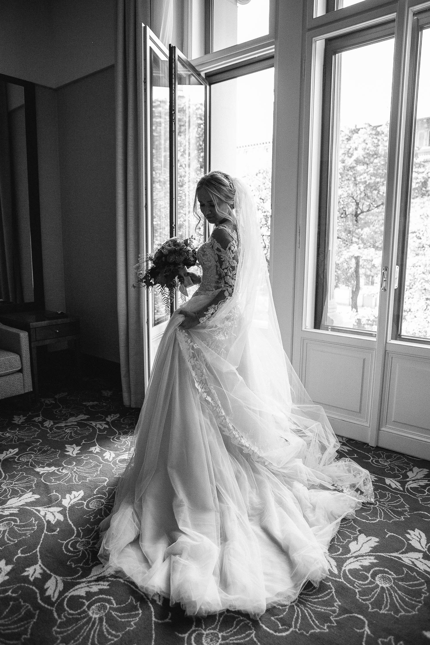 Bride Wearing Pronovias Wedding Dress Portrait