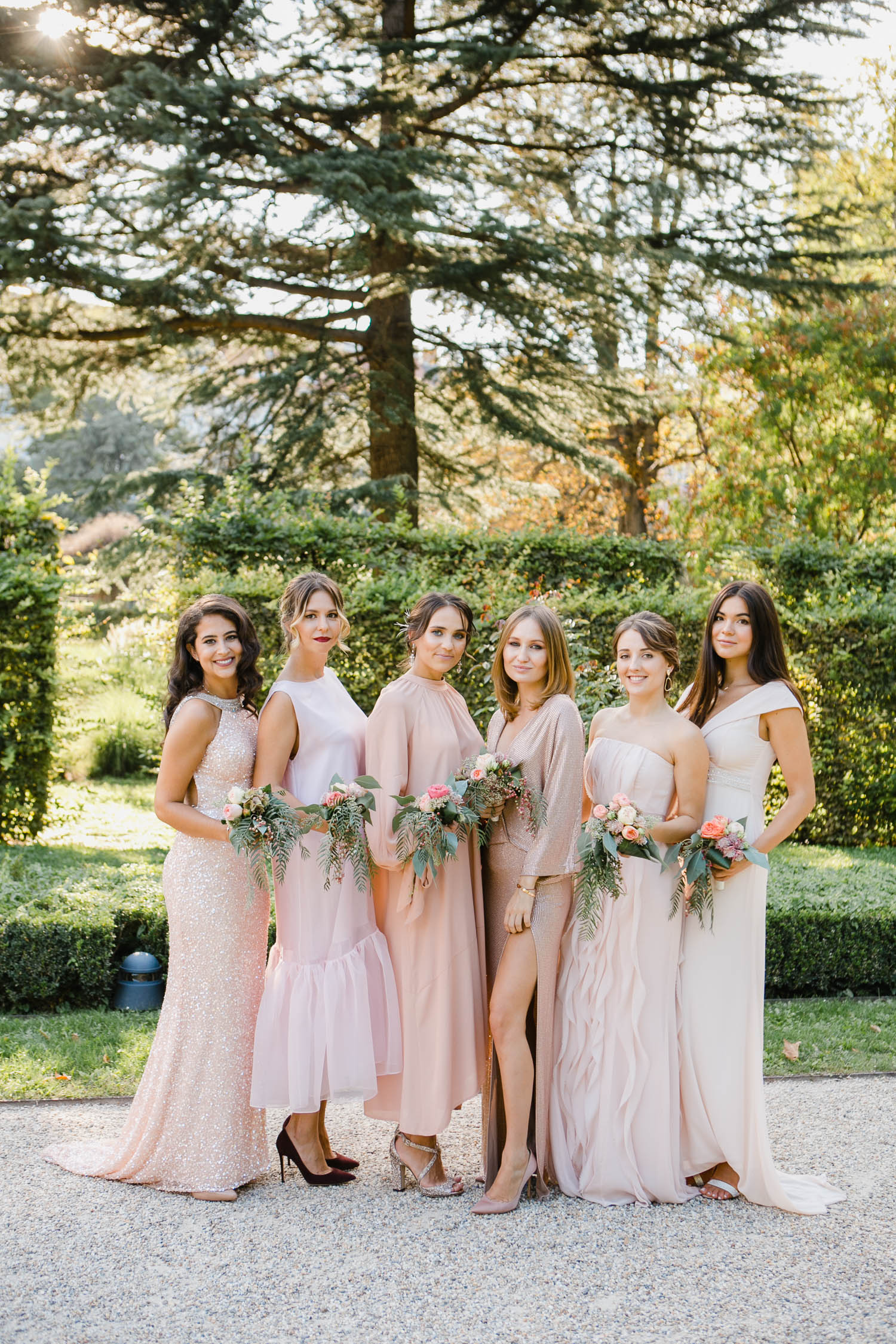 Mismatched Pink Bridemaids Dresses