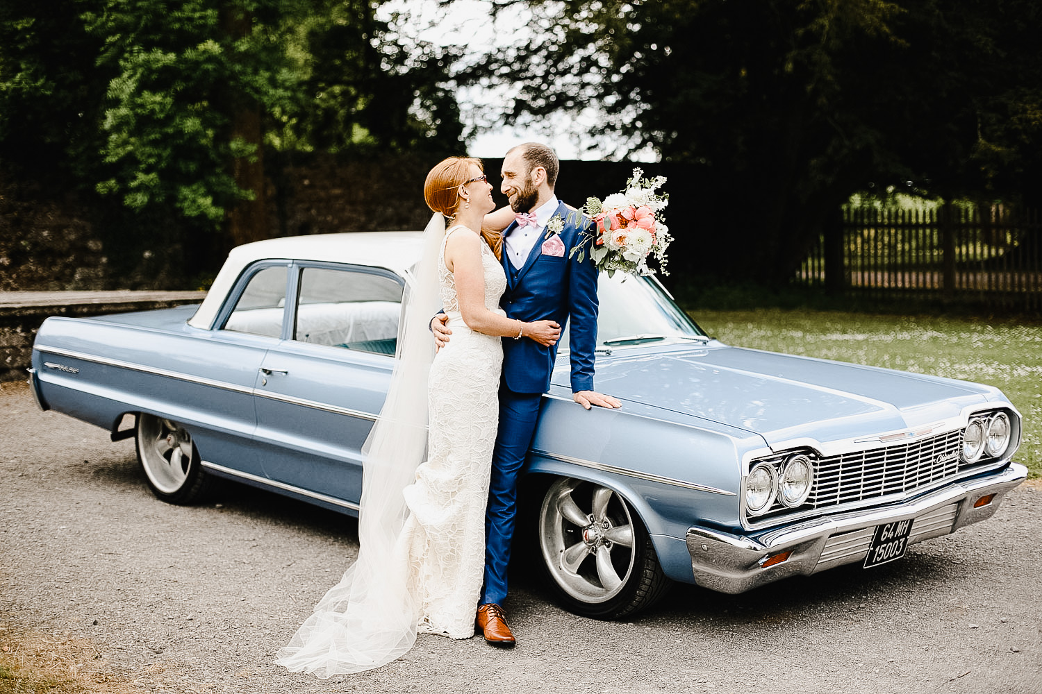 Vintage Blue Chevrolet Wedding Car