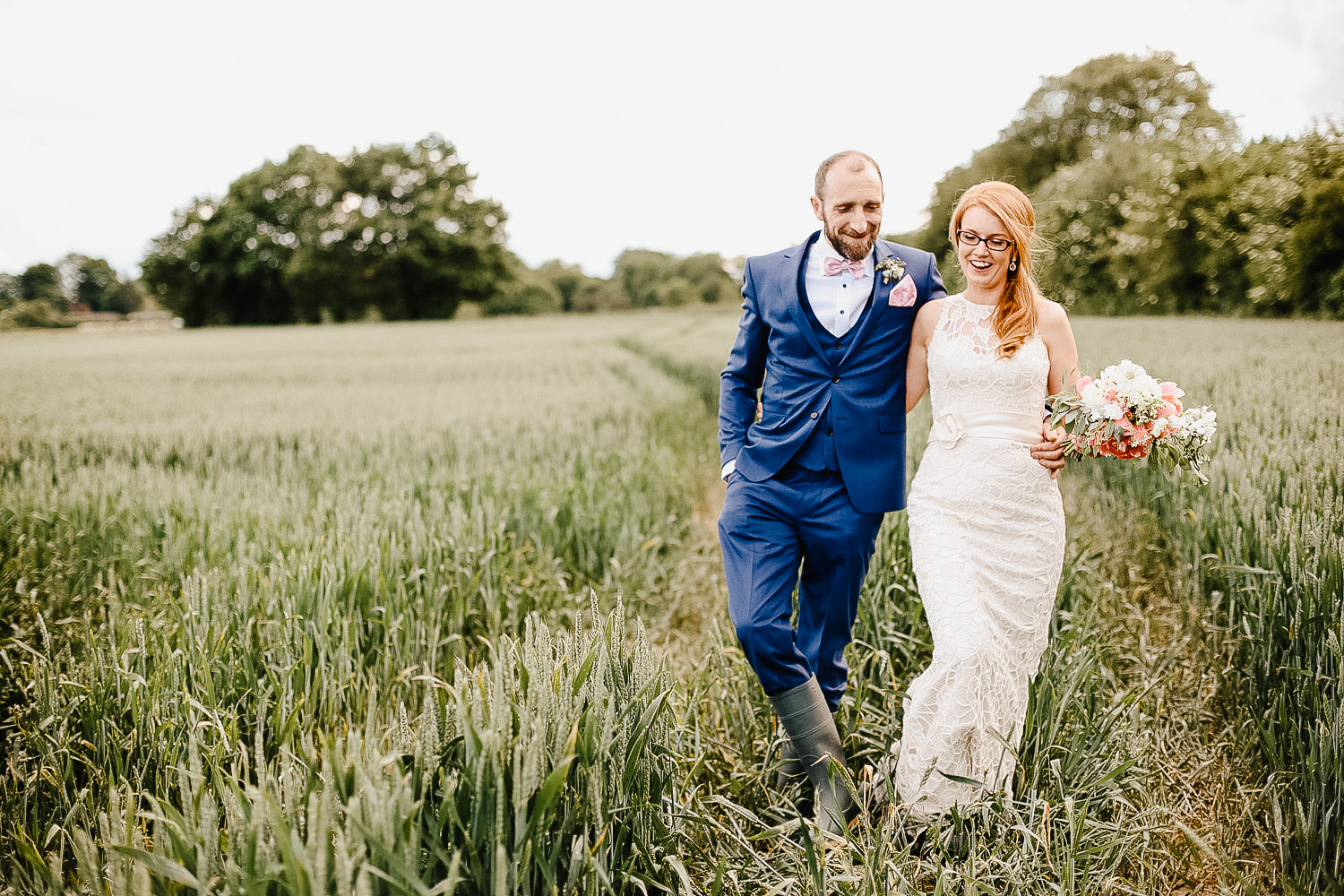 Bride and Groom Photos in Field Next To Bellinter House