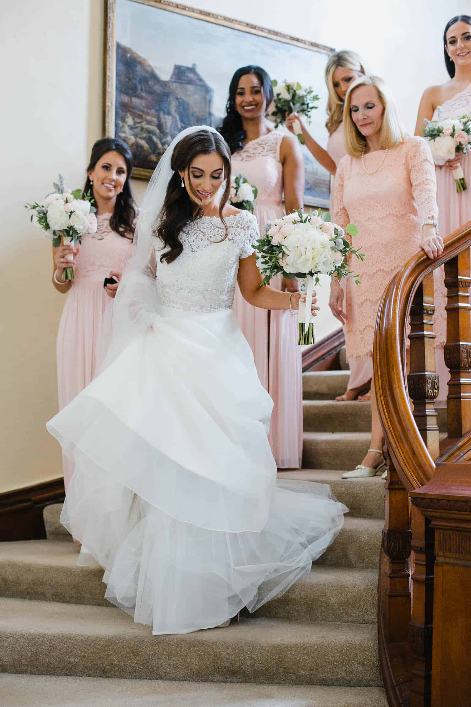 Bride on the Grand Staircase in Tankardstown House
