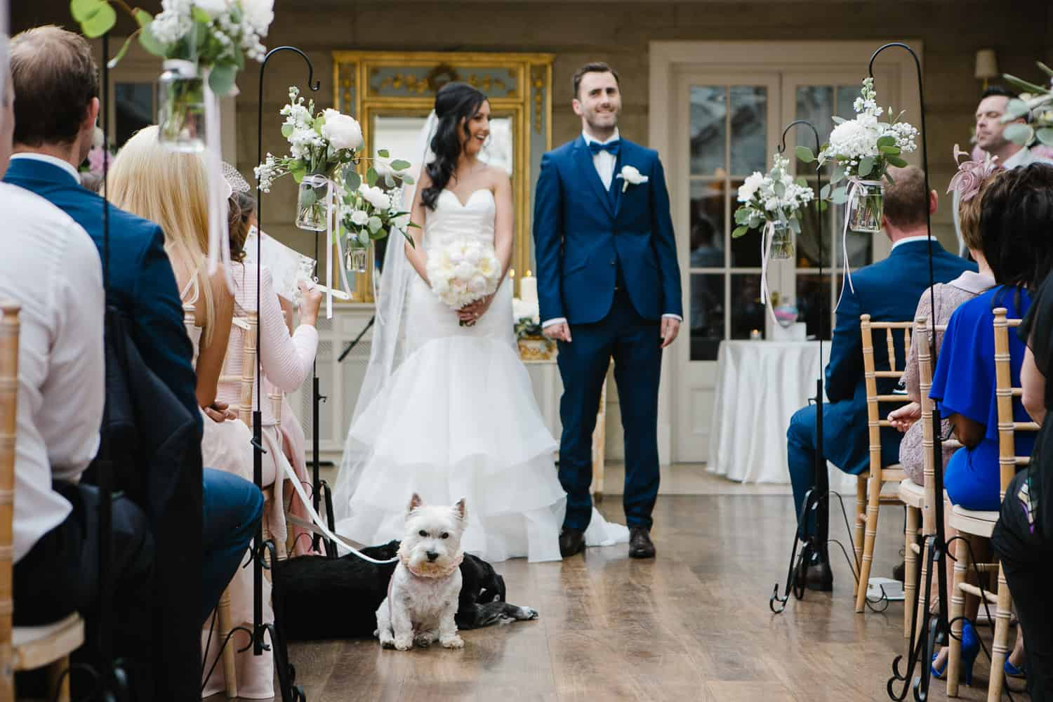 Bride and Groom Have Their Dogs Present at Wedding Ceremony in Tankardstown House