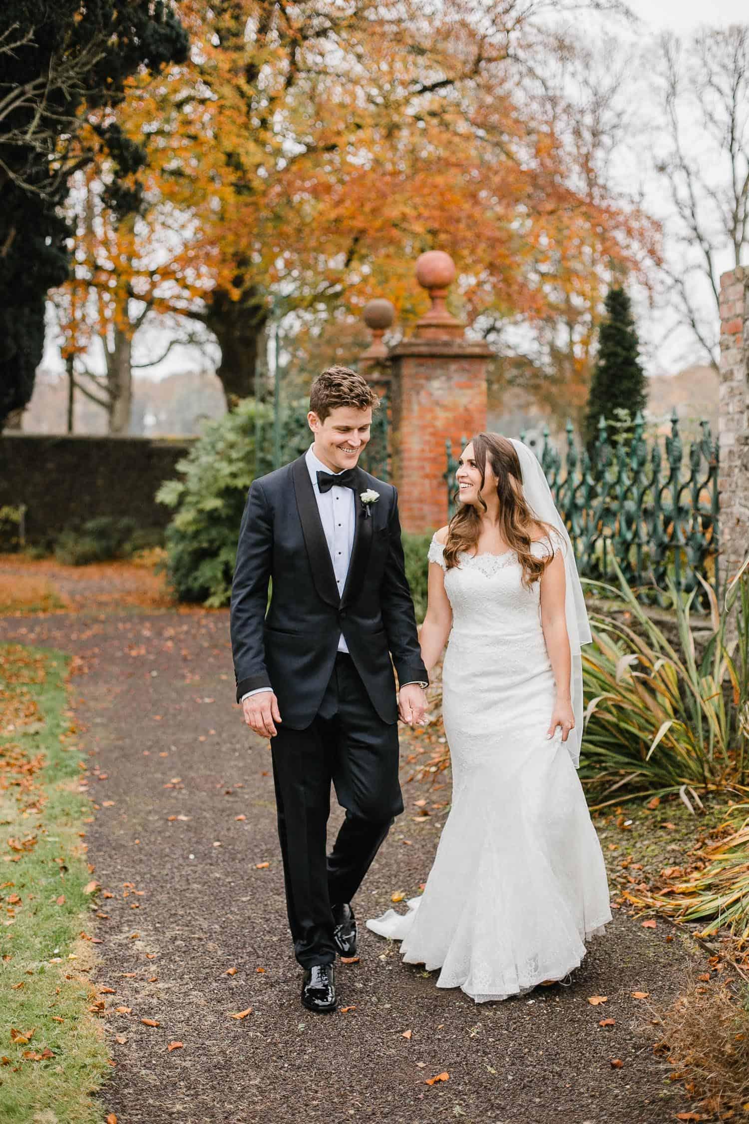Bride and Groom Photo in Walled Garden in Tankardstown House