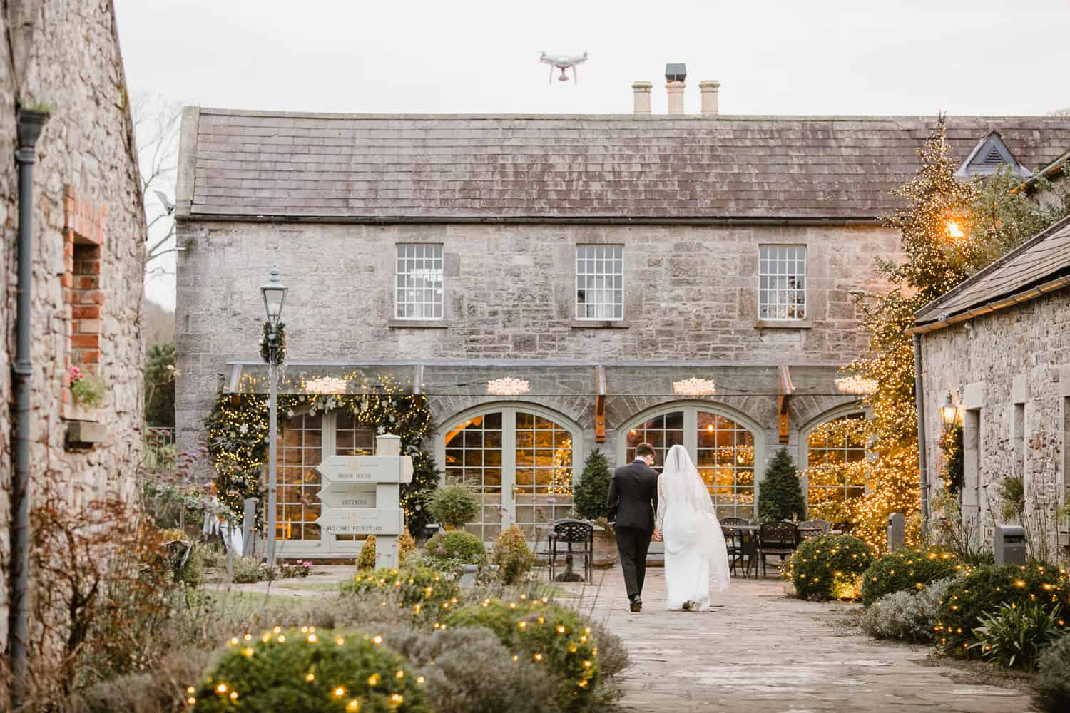 Bride and Groom in the Courtyard in Ballymagarvey Village