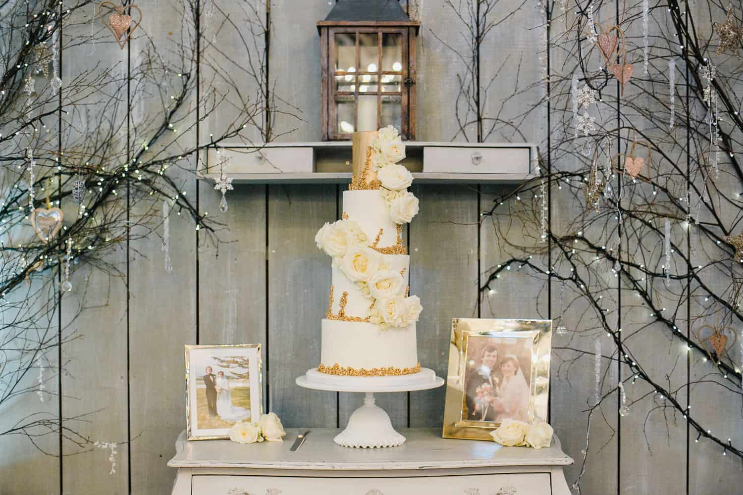 White and Gold Wedding Cake in Ballymagarvey Village