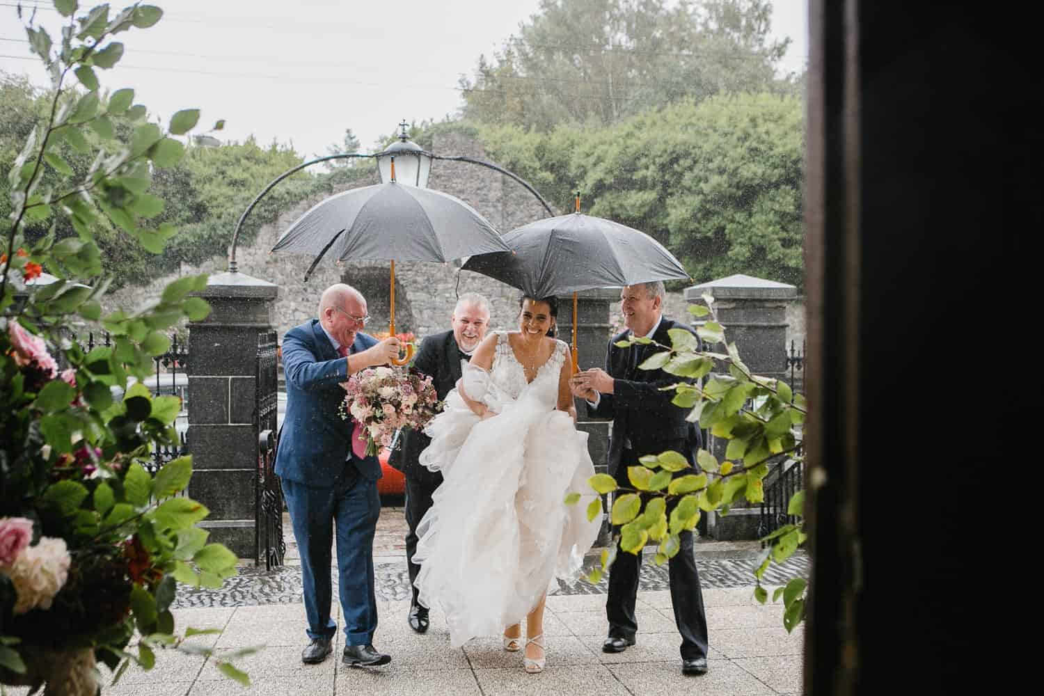 Bride With Her Father Outside St.Senan's Church