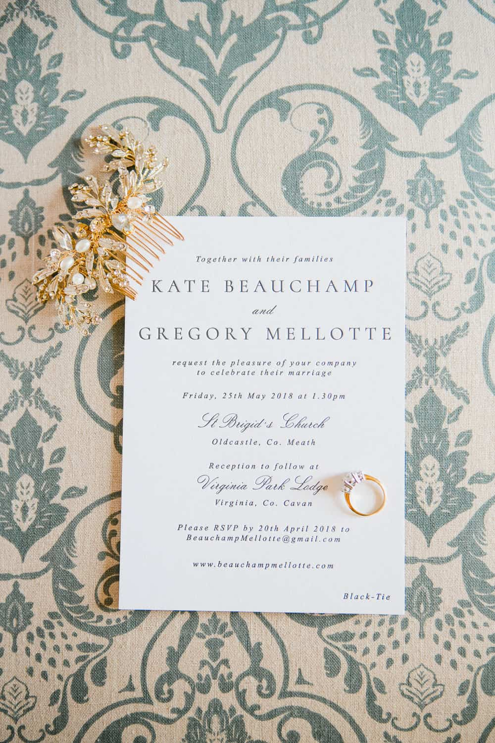 Letterpress Wedding Invitation for Virginia Park Lodge Wedding