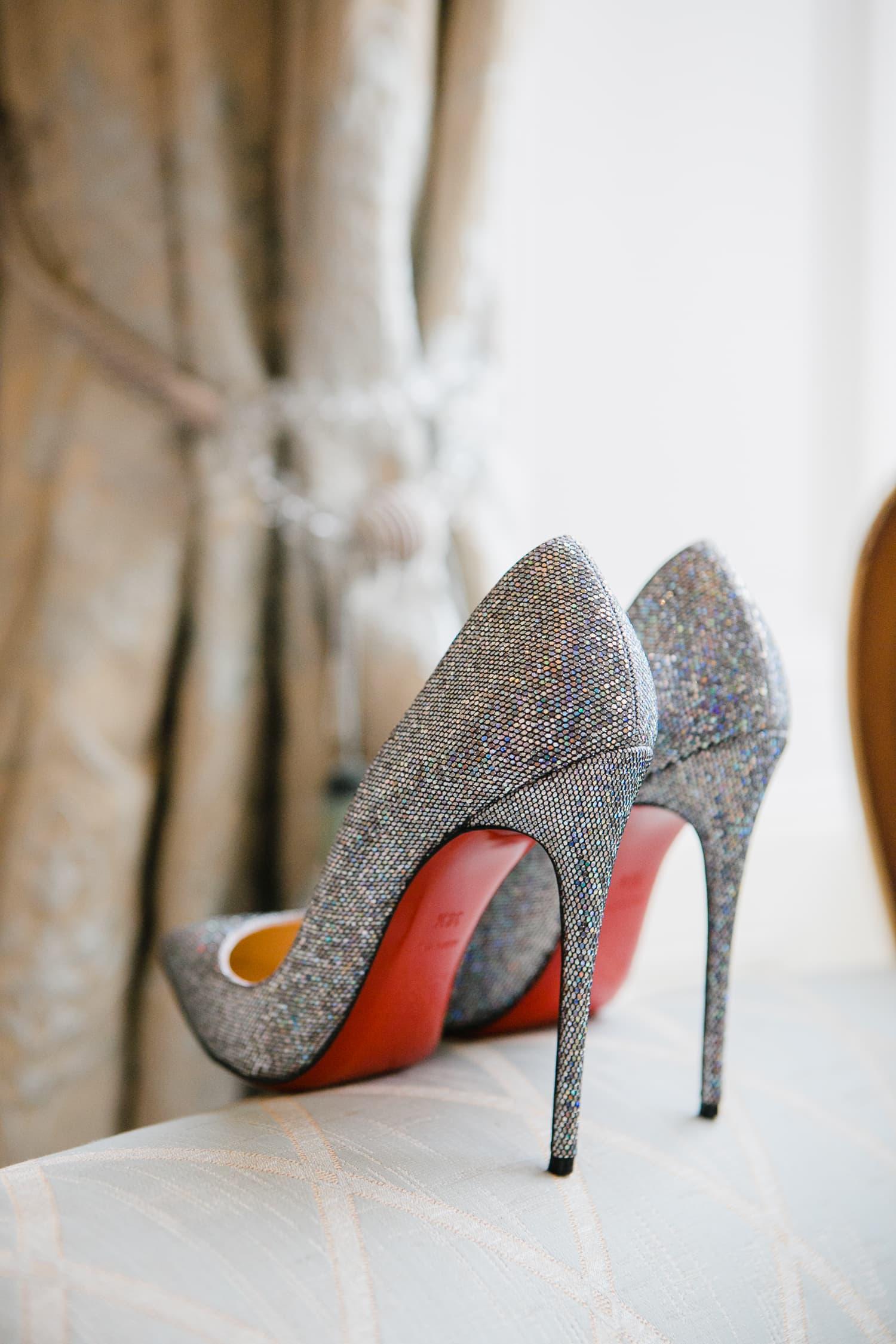 Sparkly grey Louboutin wedding shoes