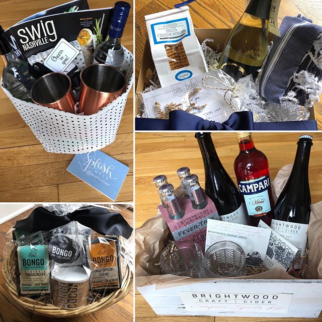 """Glendale Gala attendees: get ready to bid high on these baskets in the Silent Auction next Friday!  And start following these fabulous and local business who have generously supported our school!  Going clockwise: If you want to make your life simpler, follow A Splash of Simple to find a simpler way to enjoy food, fashion, home and holidays!  @asplashofsimple  If you need a hand, Bits & Bobs Nashville will take care of all of the """"odds and ends"""" services you need help with on any given day! @bitsandbobsnashville  If you need a drink and like to keep it local, Brightwood Craft Cider is a small batch, locally made hard cider that only uses regional apples. @brightwoodcraftcider And if you need a pick me up, Bongo Java is always there for you as one of Nashville's oldest and most cherished coffeehouses. @bongojava"""