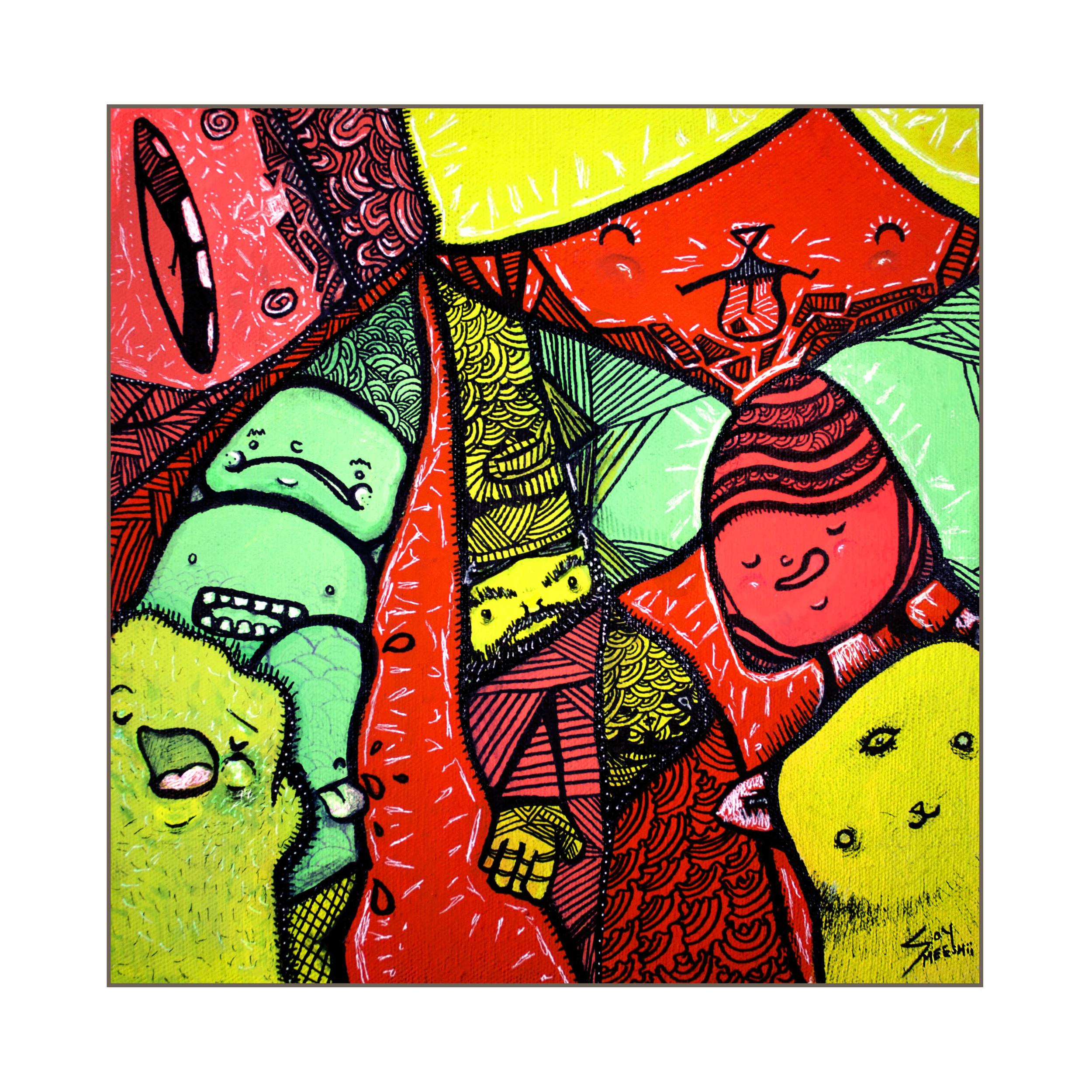 """Ak Mok   10""""x10""""  acrylic on canvas"""
