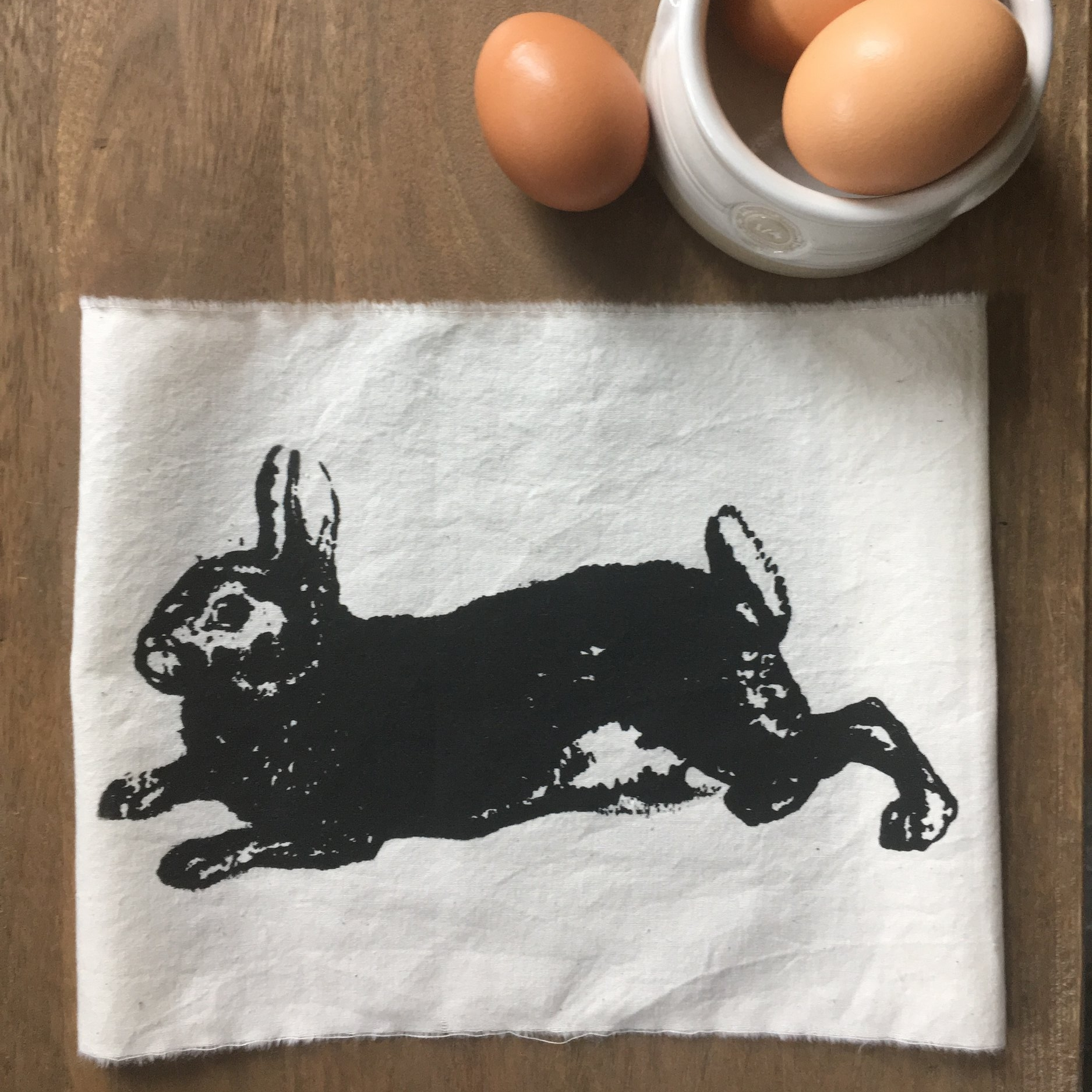 hand screened rabbit cotton