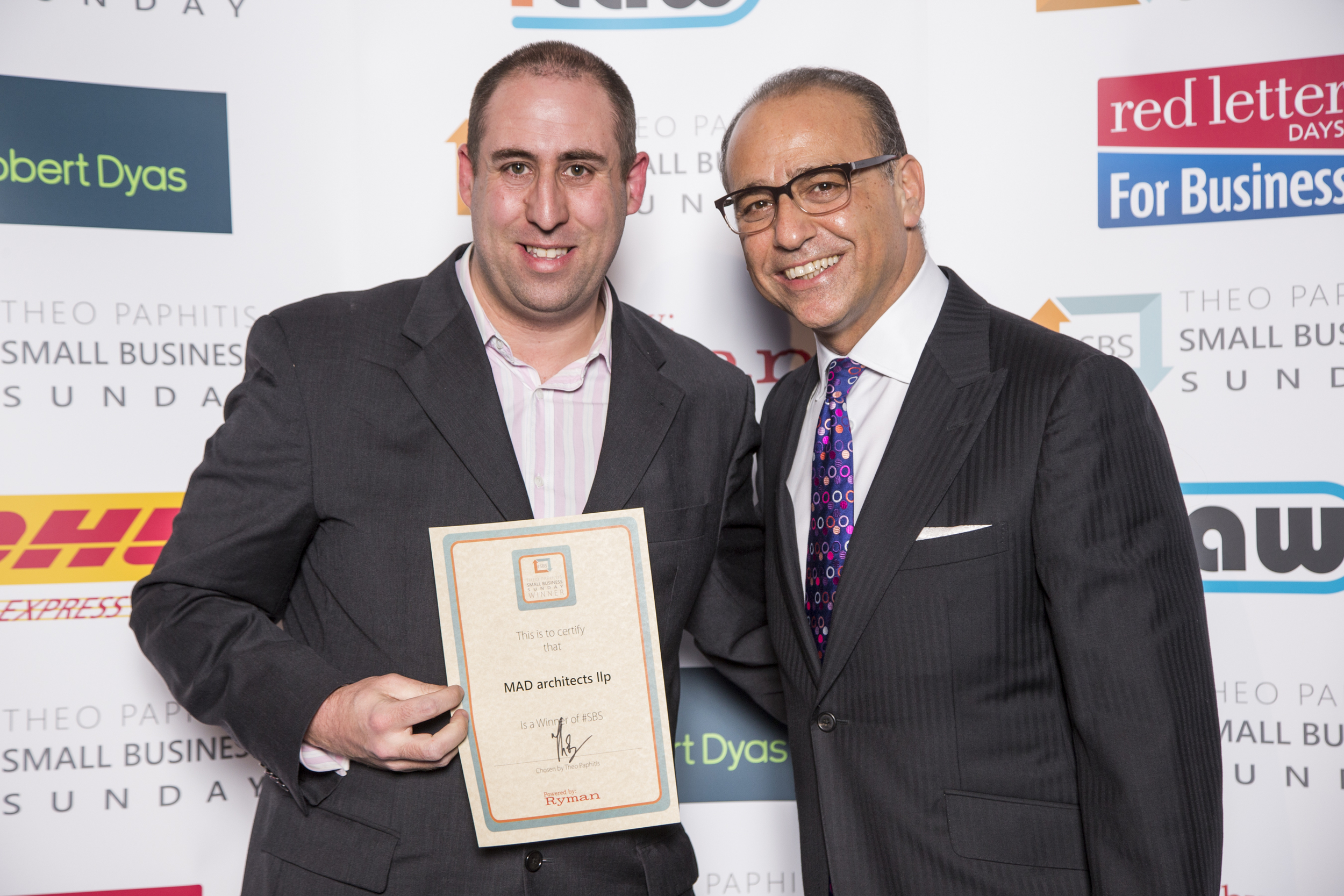 Martin Rix collects #SBS award from Theo Paphitis