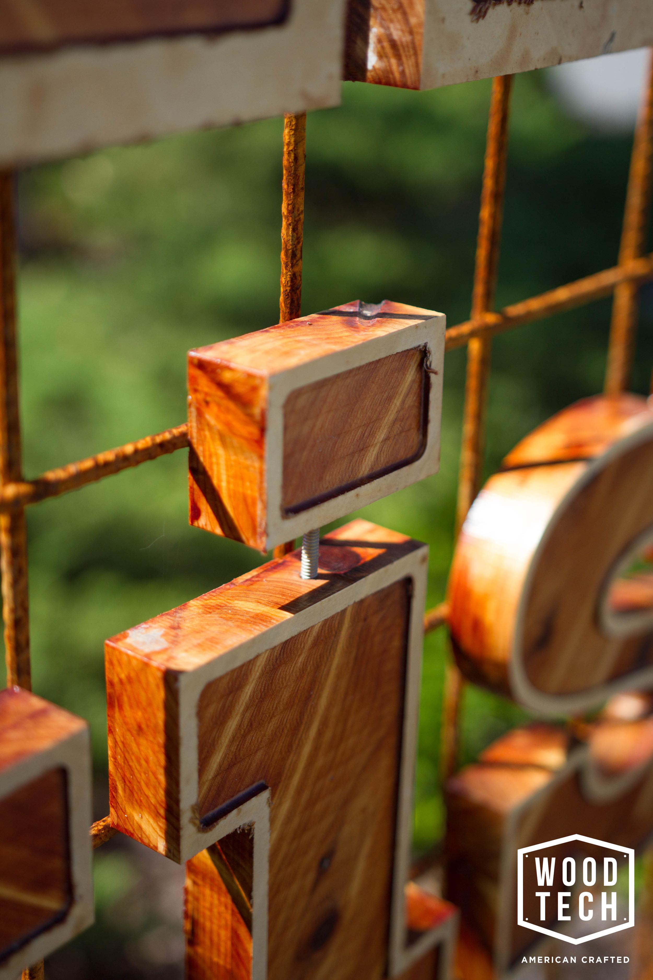 Custom Wood Lettering Detail