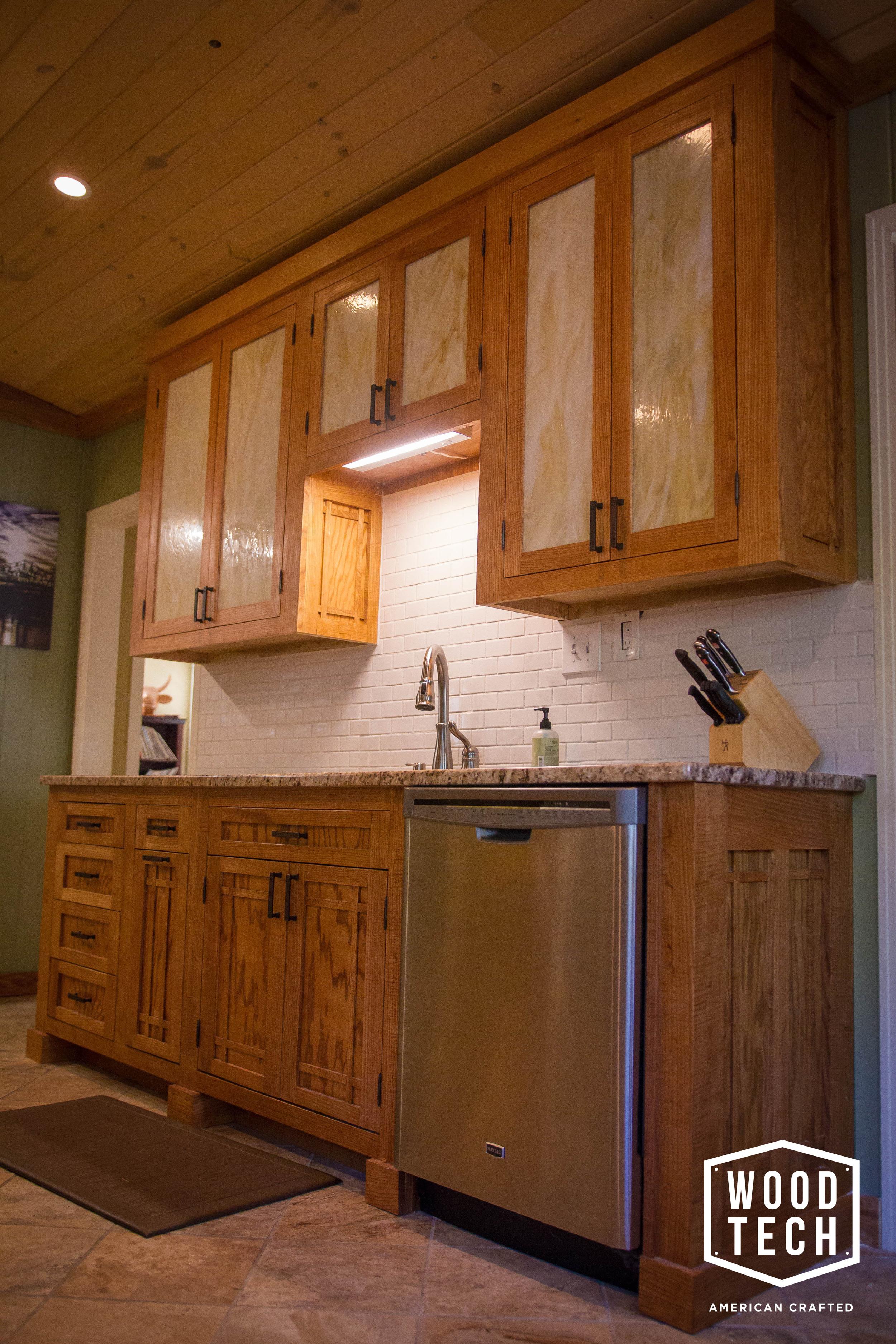 Custom Wood Cabinets with Lighting