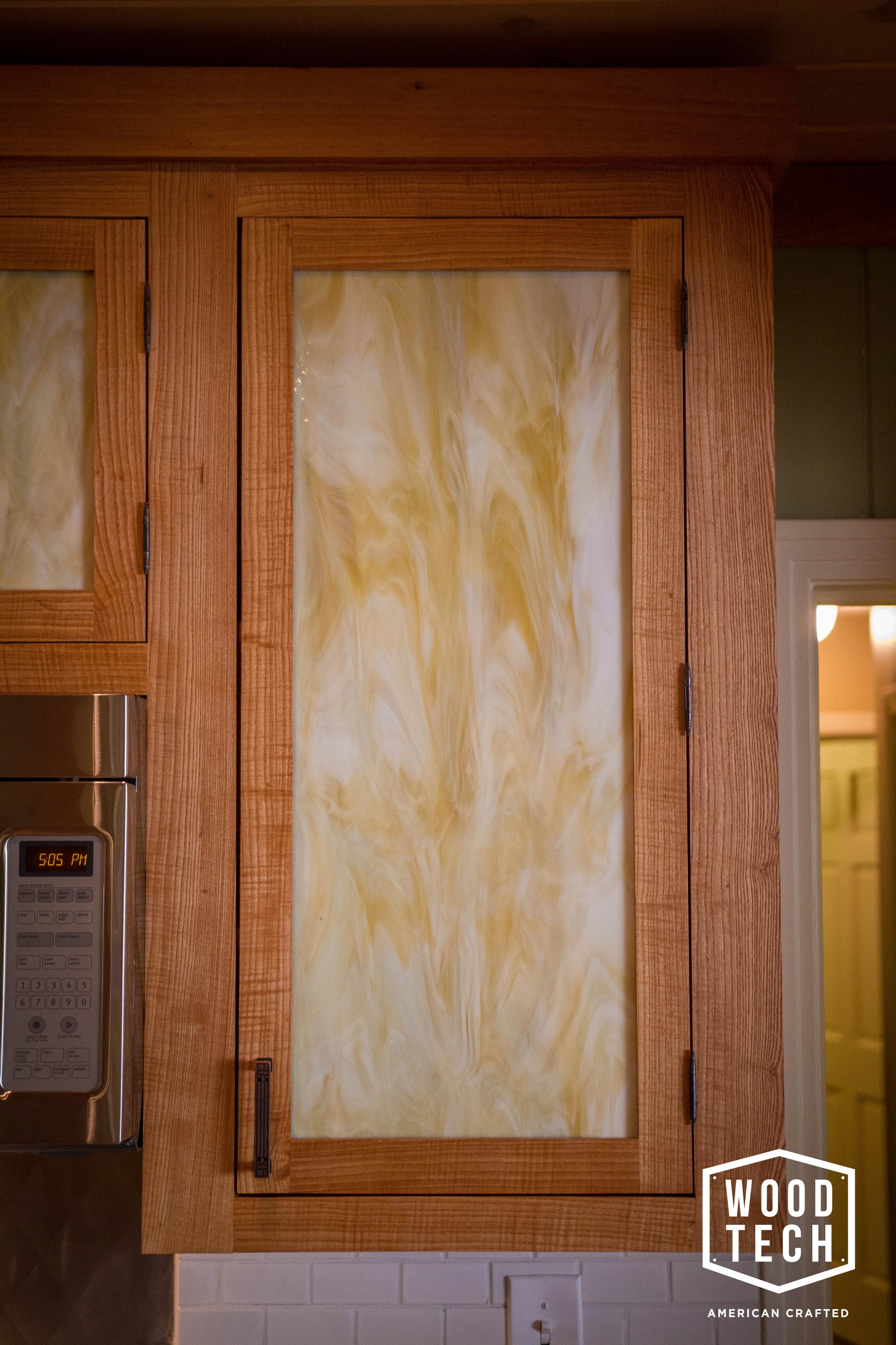 Custom Wood Cabinets with Glass Doors