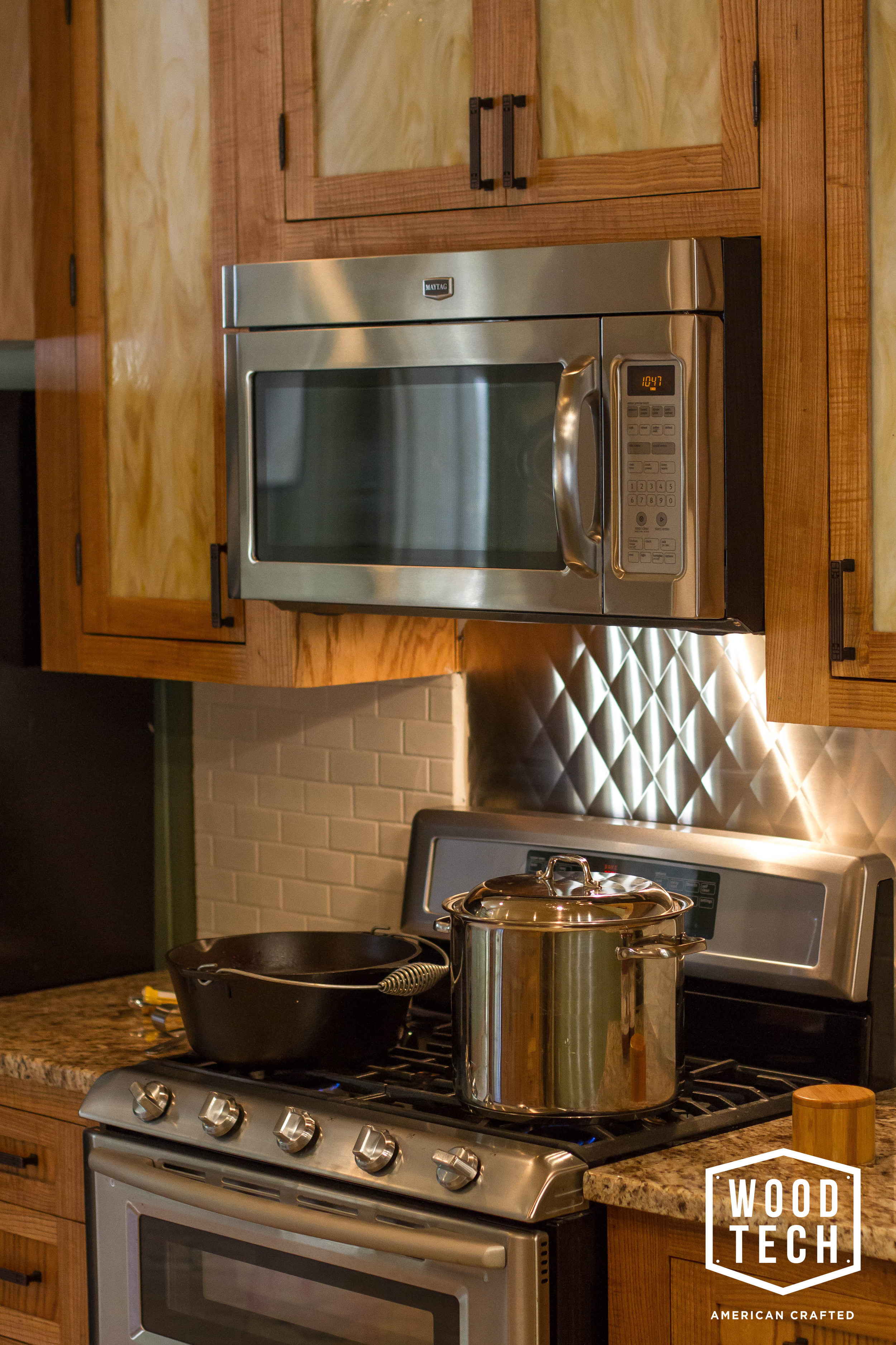 Custom Wood Cabinets with Microwave