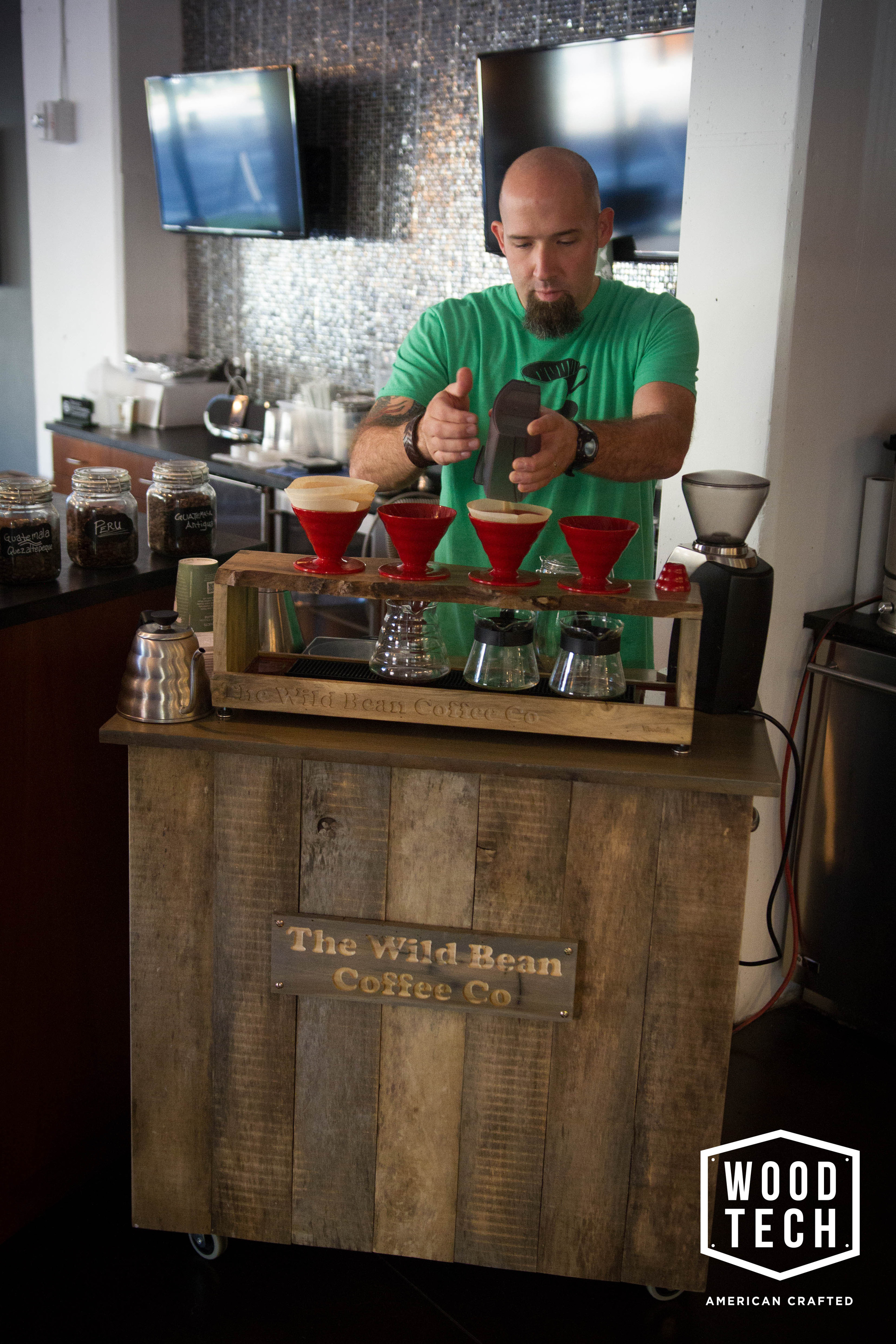 Routed Wood Sign for Wild Bean Coffee Stand
