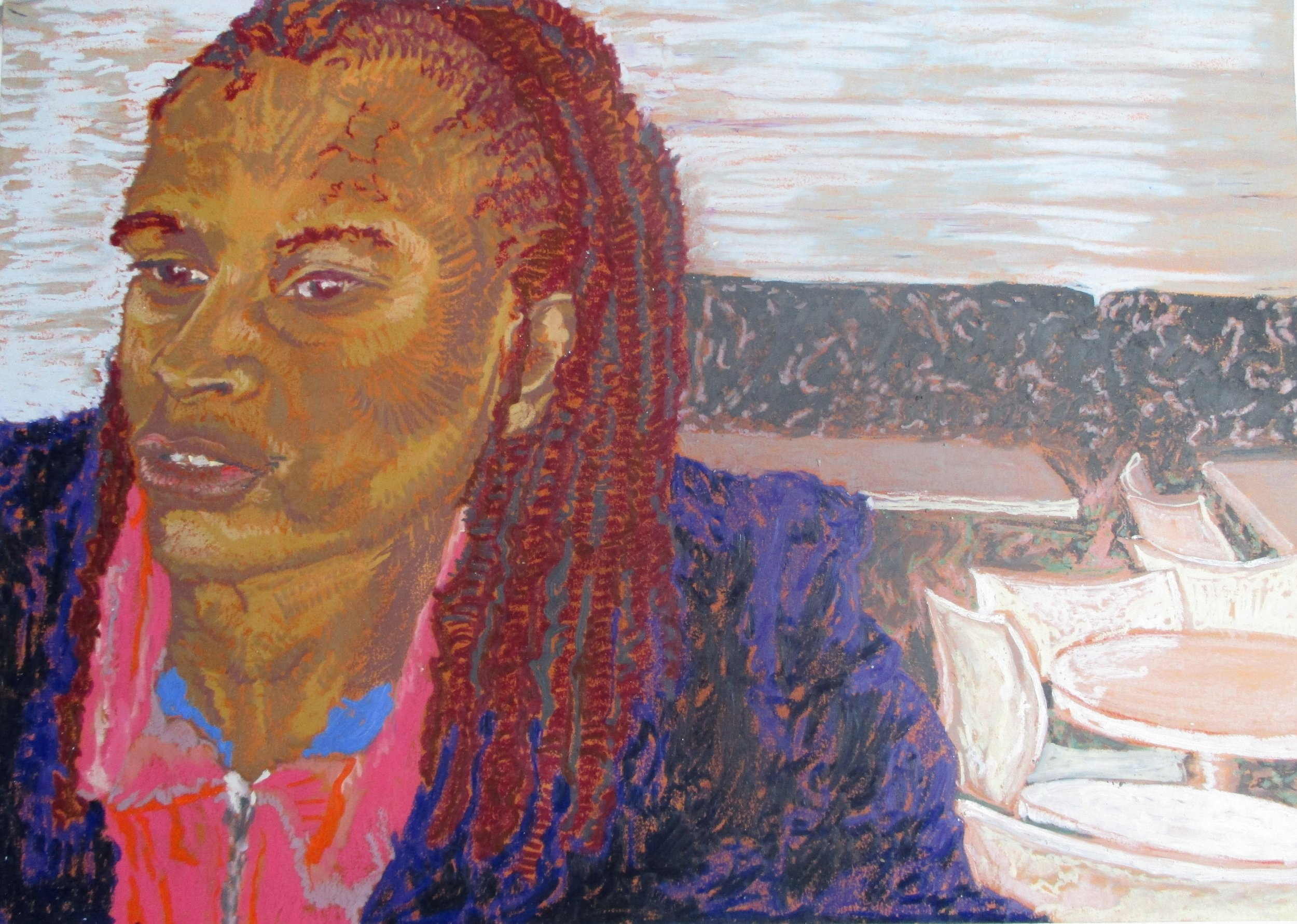 """""""Wits Art Museum I"""" (2015). Oil pastel on primed paper."""