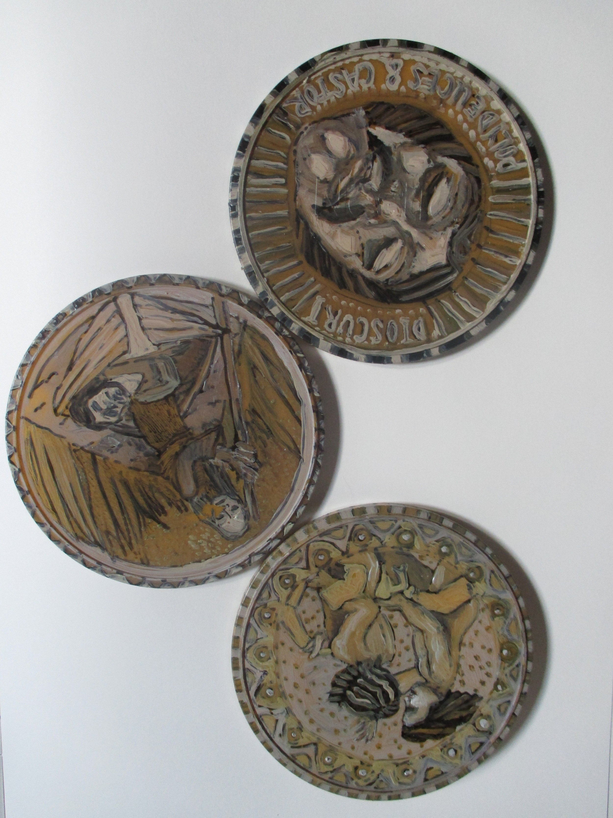 """""""Coins for Chiron"""" series (2015). Oil on plastic."""