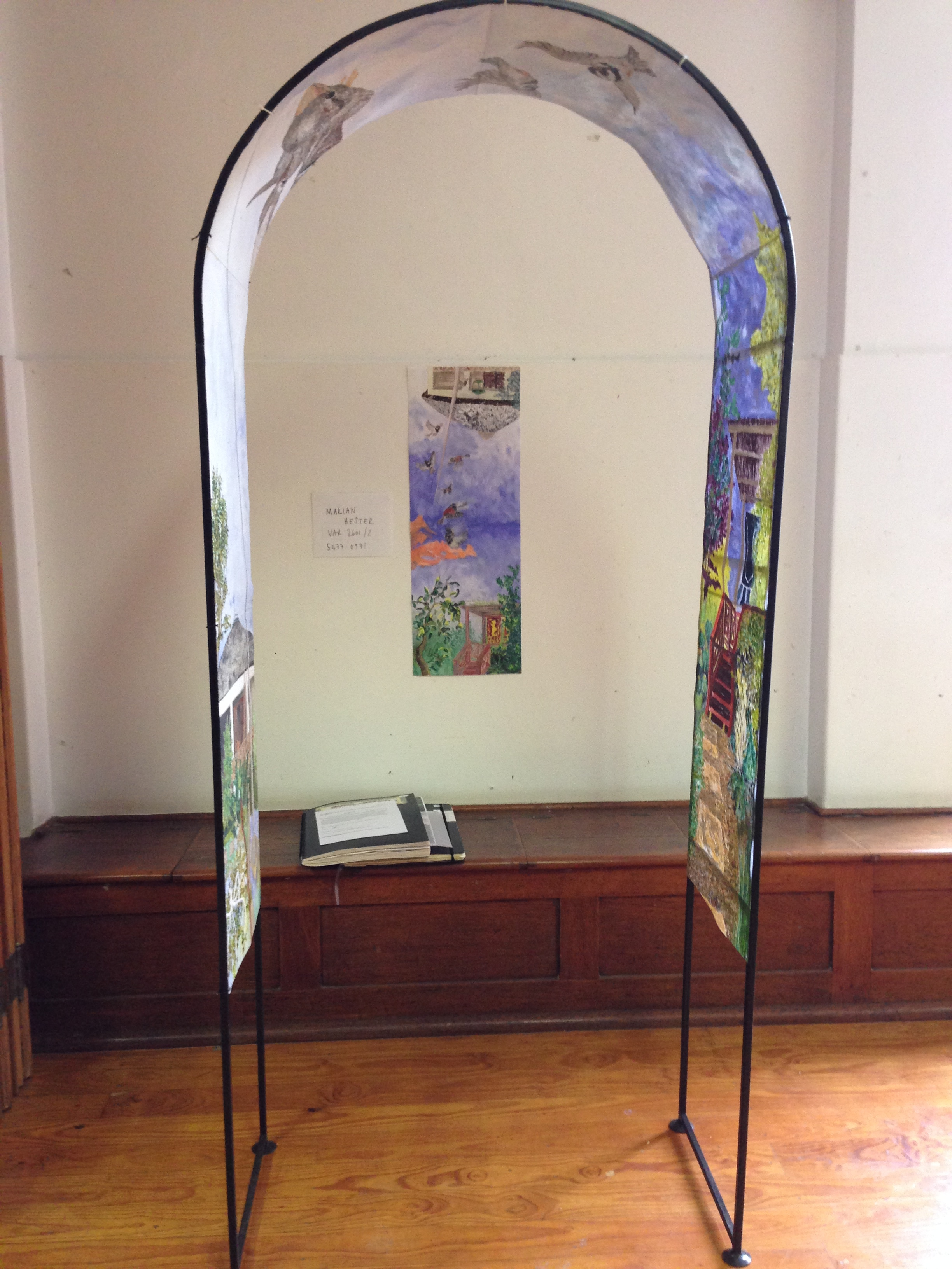 """""""The Soul Ascending"""" (2015). Oil on canvas mounted inside steel arch. Approx 2m x 0.9m x 0.3m."""
