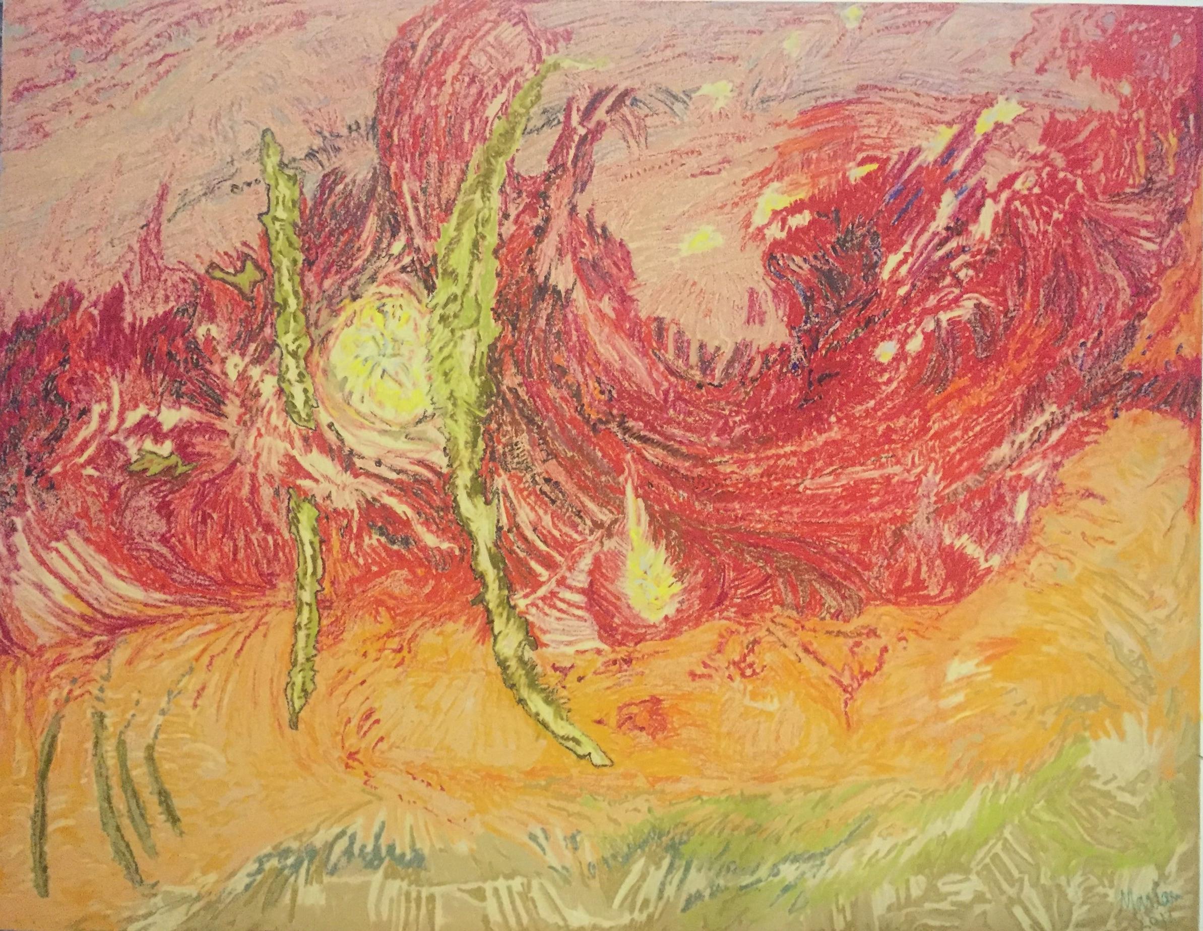 """Merede"" (2017). Oil pastel on card. 80 x 65cm."