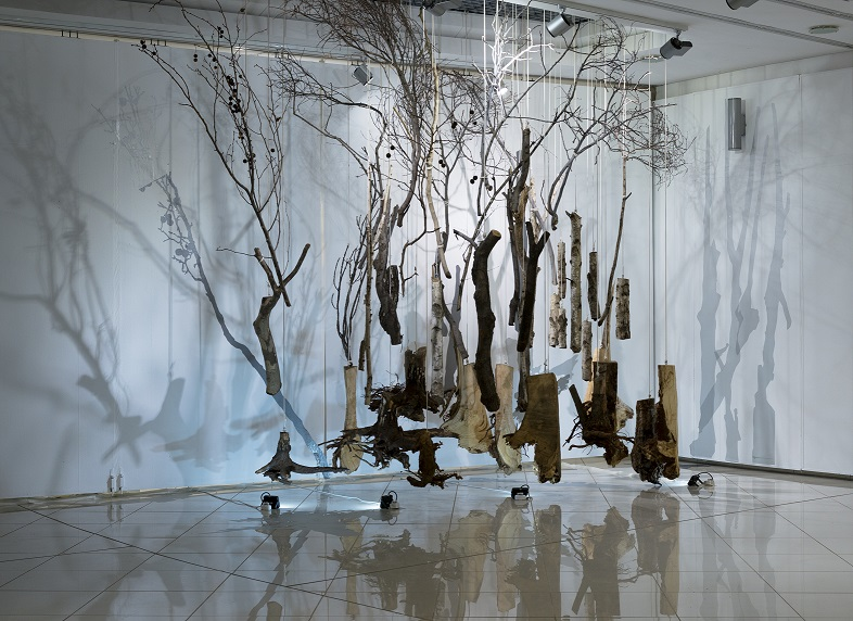 The Weight of the Dead  (2017) exhibited at the Kgorong Gallery, University of South Africa (November 2017 - January 2018). Tree pieces, bolts, cotton sash cord, spotlights, vinyl decals, approx. 4200 x 6000 x 3000mm.