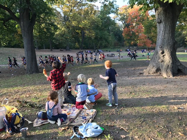 Atop the hill by the Long Meadow, we could observe all of the afternoon activity, including a high school varsity running race. The group cheered on all the runners as we ate snack.