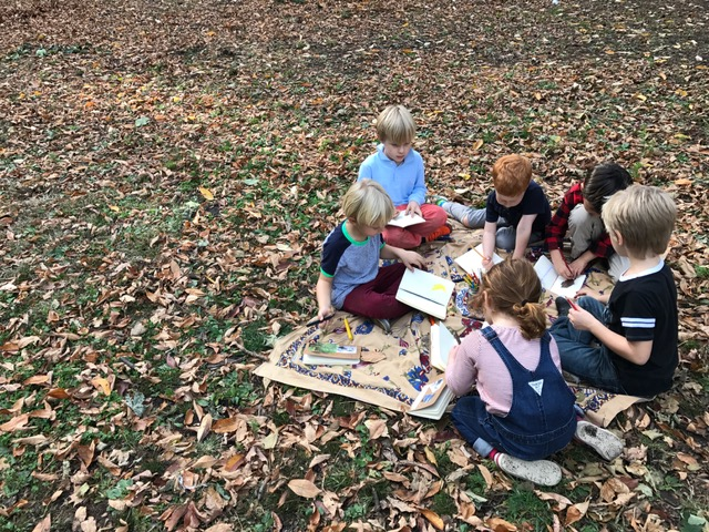 Quiet nature journaling helps us relax after a day at school.